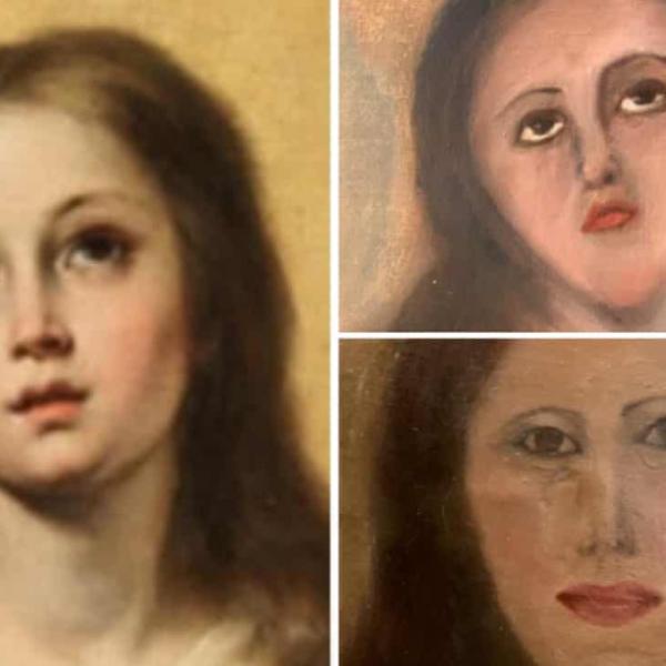别的简报|圣母画像惨遭毁容,文物画作在修复中被毁坏