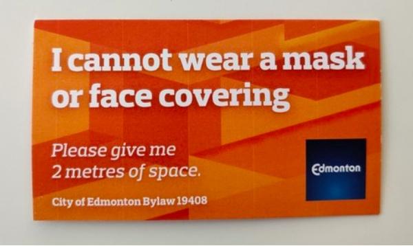 别的简报|加拿大埃德蒙顿市民可以申请不戴口罩豁免证了