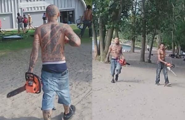 别的简报|电锯惊魂:肌肉男手持电锯闯入多伦多反口罩派对