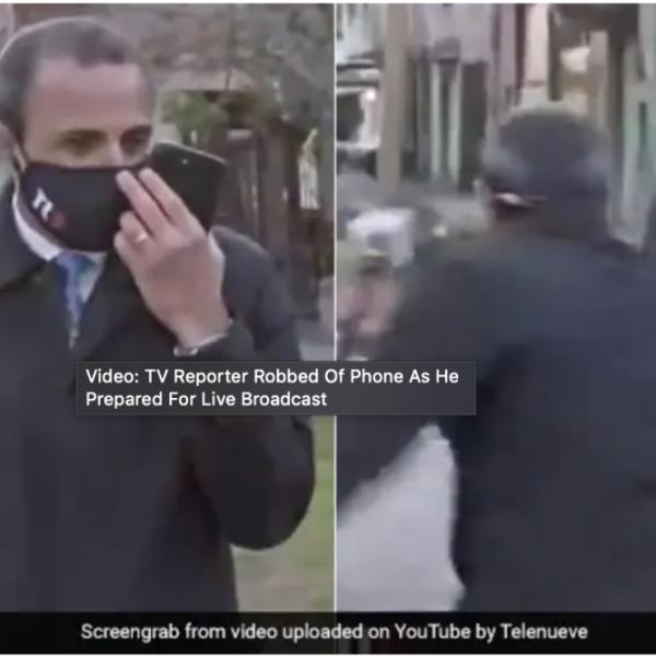 别的简报丨电视主持人在准备现场直播的时候手机被抢