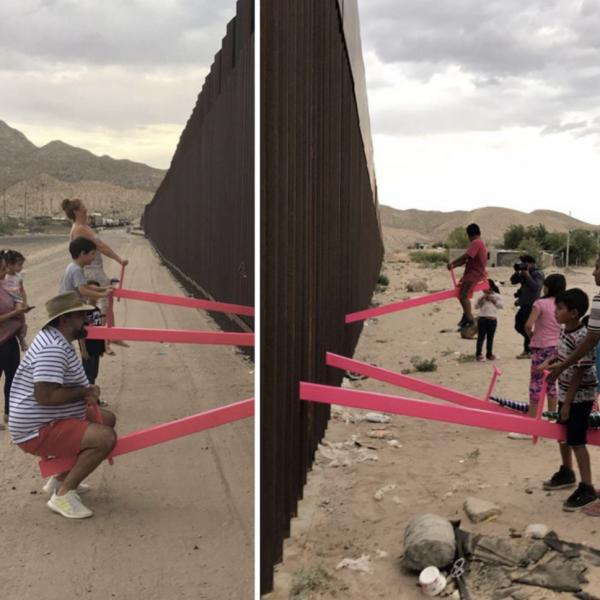 别的简报|艺术家在美墨边境架起粉色跷跷板