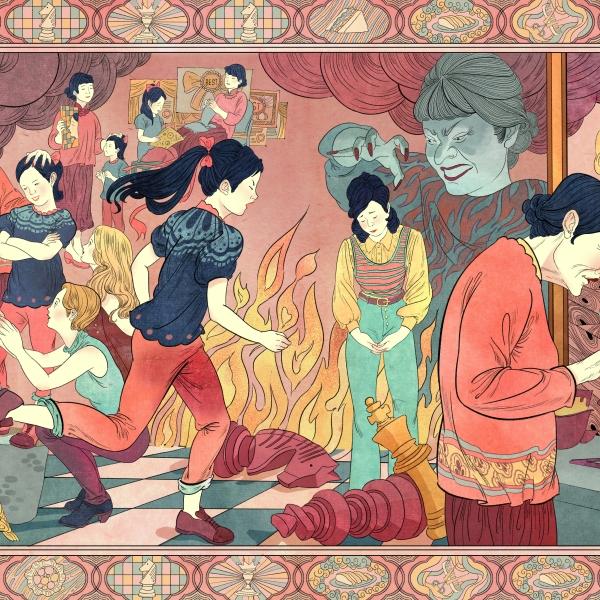 Peilin 绘制的《喜福会》讲述了中国移民母亲和美国女儿的故事